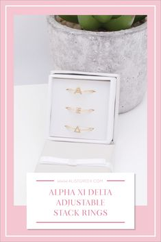 Sorority stack rings are the easiest gift for any celebration: Recruitment, Bid Day, Back to School & Big/Little. Spoil your new sorority girl with adjustable Greek letter stack rings! Alpha Xi Delta Gifts | Alpha Xi Delta Bid Day | AXiD Rings | Alpha Xi Delta Jewelry | Sorority Bid Day | Sorority Recruitment | Sorority Jewelry Gifts | Sorority College Gift | Sorority New Member Gift Ideas #SororityGifts #SororityJewelry Delta Chi, Delta Phi Epsilon, Kappa Kappa Gamma, Sorority Bid Day, Sorority Recruitment, Sorority Gifts, Alpha Chi Omega, Alpha Sigma Alpha, College Gifts