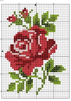 Cross stitch chart, a red rose with green leaves - Cross Stitch Cards, Cross Stitch Borders, Cross Stitch Flowers, Cross Stitching, Cross Stitch Embroidery, Embroidery Patterns, Ribbon Embroidery, Funny Cross Stitch Patterns, Cross Stitch Designs