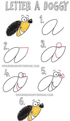 How to Draw Cartoon Dog from Cursive Letter A : Easy Drawing Tutorial for Kids