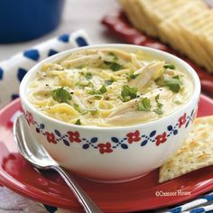 Gooseberry Patch Recipes: Cheesy Chicken & Noodle Soup. Spice up this hot & hearty soup by topping it with Pepper Jack cheese.