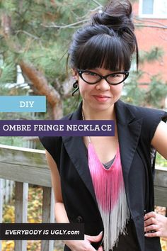 DIY Ombre Fringe Necklace, thinking about doing this and adding it to bathing suit