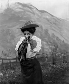 Silent movie cowgirl