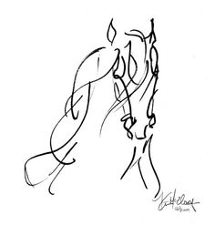 "Line Drawing - ""Whispers"" Spirit of Horse Art One Line Tattoo, Line Tattoos, Doodles Zentangles, Doodle Drawing, Horse Sketch, Horse Drawings, Equine Art, Horse Pictures, Beautiful Drawings"