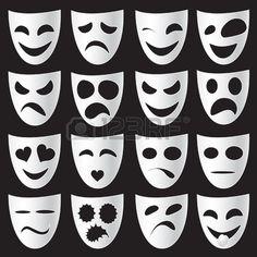 Maschere teatrali isolato esprimere emozioni diverse