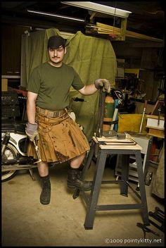 Steampunk Welder's Kilt by alt_kilt, Leather Kilt, Leather Apron, Leather Men, Modern Kilts, Utility Kilt, Men In Kilts, Kilt Men, Man Skirt, Steampunk Costume