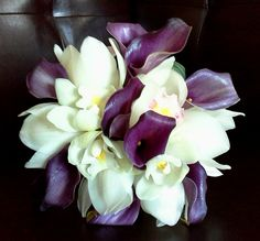 cymbid orchid and plum calla bouquet; design by Davis Floral Creations