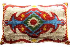 Uzbek Silk Ikat Pillow by @TheLoadedTrunk on @One Kings Lane