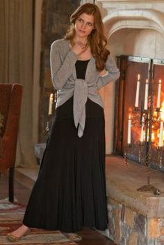 Knit Skirt from Soft Surroundings--3 colors (black, gray  dk. brown) and they are great paired with the sweater or a turtleneck, belt  boots, or ballet flats also go well with them.