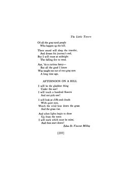 Afternoon on a Hill  by Edna St. Vincent Millay   August 1917