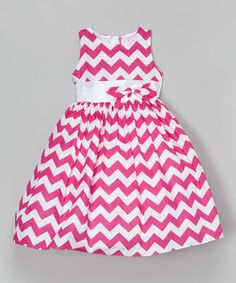 Look what I found on #zulily! Fuchsia & White Chevron Dress - Toddler & Girls #zulilyfinds