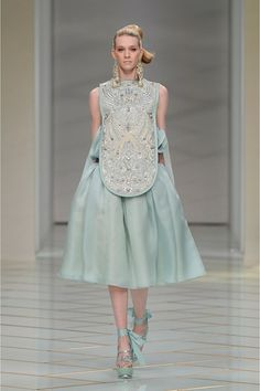 Guo Pei Spring/Summer 2016 Couture. I love this soft blue, mixing in classic vintage styles from Cinderella and the Audrey Hepburn look, while making it new age with the hair and detailing.