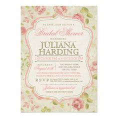 Vintage Pink Green Floral Bridal Shower Invitation