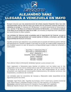 Alejandro Sanz llegará a Venezuela en Mayo: viernes 17/05  en el Palacio de Eventos #MCBO y sábado 18/05 en el Campo de Fútbol de la USB #CCS