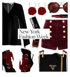 """What to Wear to NYFW"" by rasa-j ❤ liked on Polyvore featuring Elizabeth and James, Prada, Giuseppe Zanotti, Vjera Vilicnik, Pierre Balmain, Bobbi Brown Cosmetics, Chanel, NYFW and womensFashion"