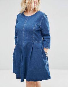 Image 3 ofASOS CURVE Denim Skater Dress in Mid Blue Wash