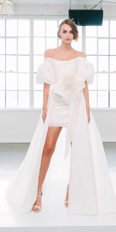 Hottest 27 Wedding Dresses Fall 2018 ❤ wedding dresses fall 2018 mini overskirt off the shoulder with puffed sleeves marchesa ❤ See more: http://www.weddingforward.com/wedding-dresses-fall-2018/ #weddingforward #wedding #bride