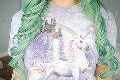 #curled #green #hair #girl #unicorn | Tumblr