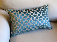 PEACOCK TURQUOISE  Raised Velvet lumbar pillow 10x20 by yiayias, $35.00
