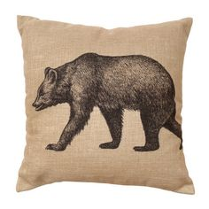 Vintage Bear Burlap Pillow