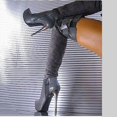 Fashion Gray OL Style Over Knee High Boots