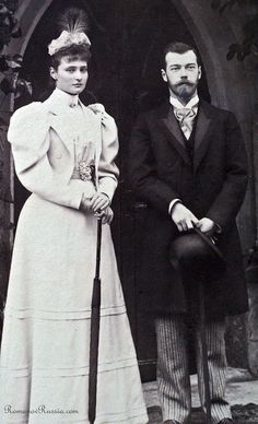 Photograph taken on the engagement day of Tsarevich Nicholas & Princess Alix - Coburg, 8 April 1894