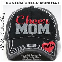Glitter Cheer Mom Hat, Custom Cheer Mom Hat, Personalized Cheer Mom Hat, Cheer Mom Baseball Hat by AllStarCustomBling on Etsy https://www.etsy.com/listing/281736782/glitter-cheer-mom-hat-custom-cheer-mom