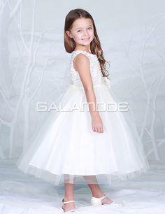 Robe de Communion Princesse Epingle Cristal Longueur Au Mollet Tulle - galamode.fr