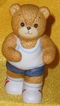 Porcelain Enesco Lucy Rigg & Me Exercising Jogger Boy Teddy Bear Figurine 1984