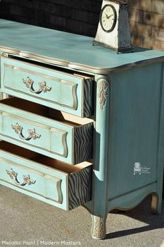 Warm Silver Metallic Paint by Modern Masters accents this beautiful patterned aqua dresser   By Vintage Charm Restored   Modern Masters Cafe blog   Spring Decorating Ideas with Modern Masters