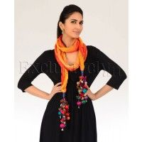 #Exclusively.in, #Indian Ethnic wear, Shaded Orange and Yellow Stole with Multicolored Tassels