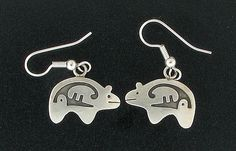 Sterling Silver Navajo Overlay Bear Dangle Earrings by Robert Gene