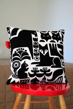 Marimekko Sanna Annukka fabric with squirrel