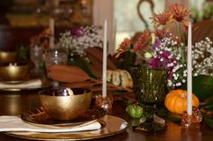 Table Decor | Fall Colors | Orange, Green, Red, Thanksgiving