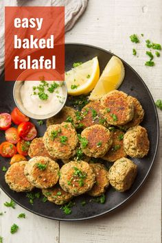 All the deliciousness without the frying! This baked falafel is packed with flavor and easy enough for a weeknight. Stuff it in a sandwich, pile it on a salad, or enjoy it on it's own! A delicious and healthy vegan dinner that everyone will love! #veganrecipes #healthyrecipes #falafel #bakedfalafel Vegan Falafel Recipe, Chickpea Recipes, Vegan Dinner Recipes, Delicious Vegan Recipes, Vegan Dinners, Vegetarian Recipes, Healthy Recipes, Vegan Appetizers, Veg Recipes