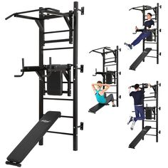 Physionics® Fitness Pull Up Chin Ups Leg Raise Dip Workout Station Wall Mounted Power Rack Home Strength Training Gym Home Gym Basement, Home Gym Garage, Gym Room At Home, Home Made Gym, Diy Home Gym, Home Gym Decor, Workout Room Home, Workout Rooms, Fitness Workouts