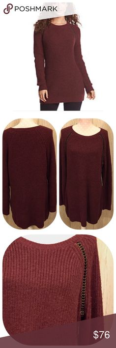 """ruff hewn GREY Tunic Sweater with Chain Detail Fabulous color of Bordeaux. Great shoulder detail round links wrapped with faux leather giving the illusion of a chain running down the seam from the neckline to the arm pit. No other embellishments are needed. 50% acrylic 25% nylon 23% wool 2% alpaca. Hand wash cold and dry flat. Measurements are approximate laying flat. Bust 20.5"""" length 34.5"""" ruff hewn GREY Sweaters"""