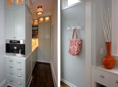 The lit cabinets reaching to the ceiling: brilliant!  They act like lanterns warmly enveloping the room.