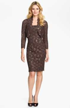 Alex Evenings Sequin Lace Sheath Dress Bolero in Brown