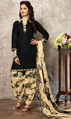 USD 23.27 Black Cotton Punjabi Suit 44925