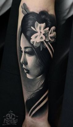 Black & Gray Japanese Girl Tattoo