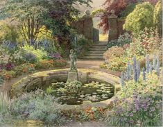 Summer bloom around the fountain (illustrated); and The secret gardenthe first signed 'E W Haslehurst'...