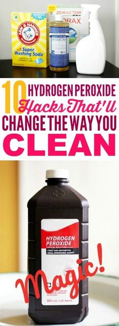 These cleaning tips are THE BEST! I'm so glad I found these AMAZING cleaning hacks! Now I have some great hydrogen peroxide uses! #cleaningtips #cleaninghacks #cleaningideas #homehacks #hydrogenperoxide