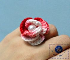 Crocheted Rose Ring - Free pattern!  Hope it's fairly easy. I think our granddaughters would love these.