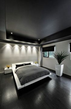 Go Entirely Monochrome - Minimalist bedroom with monochrome gray colors. Keep your room in monochrome shades of gray to make your area feel as relaxin... Suite Master, Small Master Bedroom, Master Bedroom Design, Home Decor Bedroom, Bedroom Ideas, Bedroom Designs, Bedroom Artwork, Tapestry Bedroom, Bedroom Plants