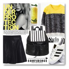 """""""Black&Yellow"""" by pokadoll ❤ liked on Polyvore featuring adidas, Underprotection, Industrie, Sheinside and shein"""