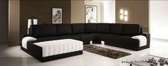 Classic black white sofas furniture top grain leather sofa set