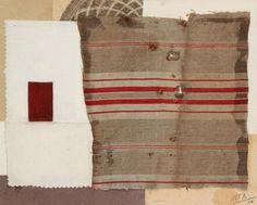 Maurice Miot dit MELITO (1920-1994) Composition abstraite, 1958 Collage de tissus et papiers. Signé et daté 58 en bas à droite. H: 24 x 30 cm