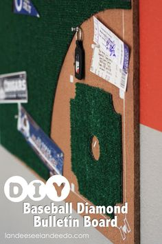 Cute baseball diamond bulletin board. Perfect for a boys room or for a baseball loving family!