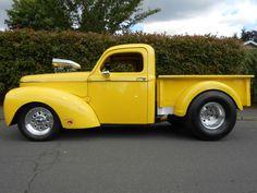1941 Willys Pickup pu for sale in Aloha, Oregon, black, yellow, 355 Hot Rod Trucks, Cool Trucks, Pickup Trucks, Antique Trucks, Vintage Trucks, Truck Lettering, Hot Rod Pickup, Pickups For Sale, Cars
