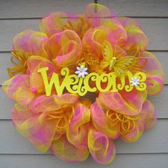 Spring Easter Deco Mesh Wreath by EnchantedWreaths on Etsy, $55.00